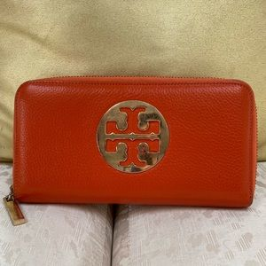 Tory Burch Orange Leather Wallet
